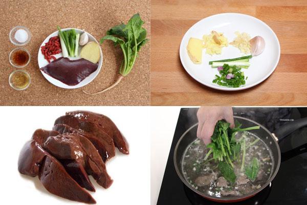 Canh rau chân vịt nấu gan lợn là thực phẩm tốt cho người bệnh thiếu máu não