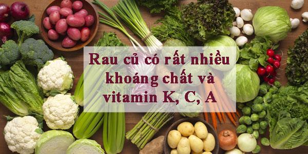 vitamin và khoáng chất trong rau cũ là thực phẩm cho người bệnh thiếu mãu não