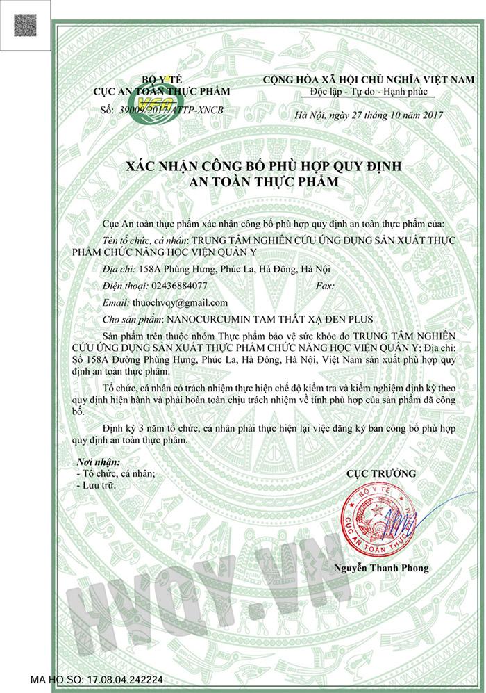 giấy chứng nhận viên uống Phytosome Curma Tam Thất Xạ Đen