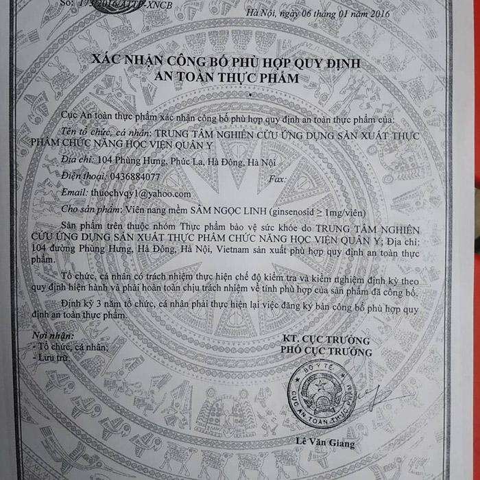 giấy chứng nhận sâm ngọc linh đông trùng hạ thảo