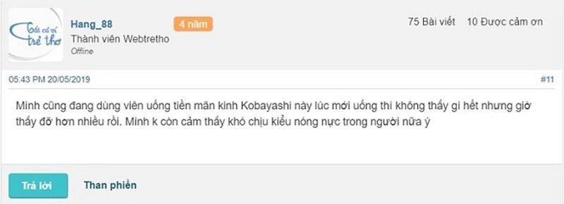 viên tiền mãn kinh kobayashi có tốt không
