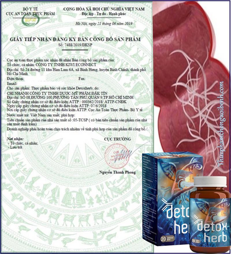 giấy chứng nhận bộ y tế detox herb
