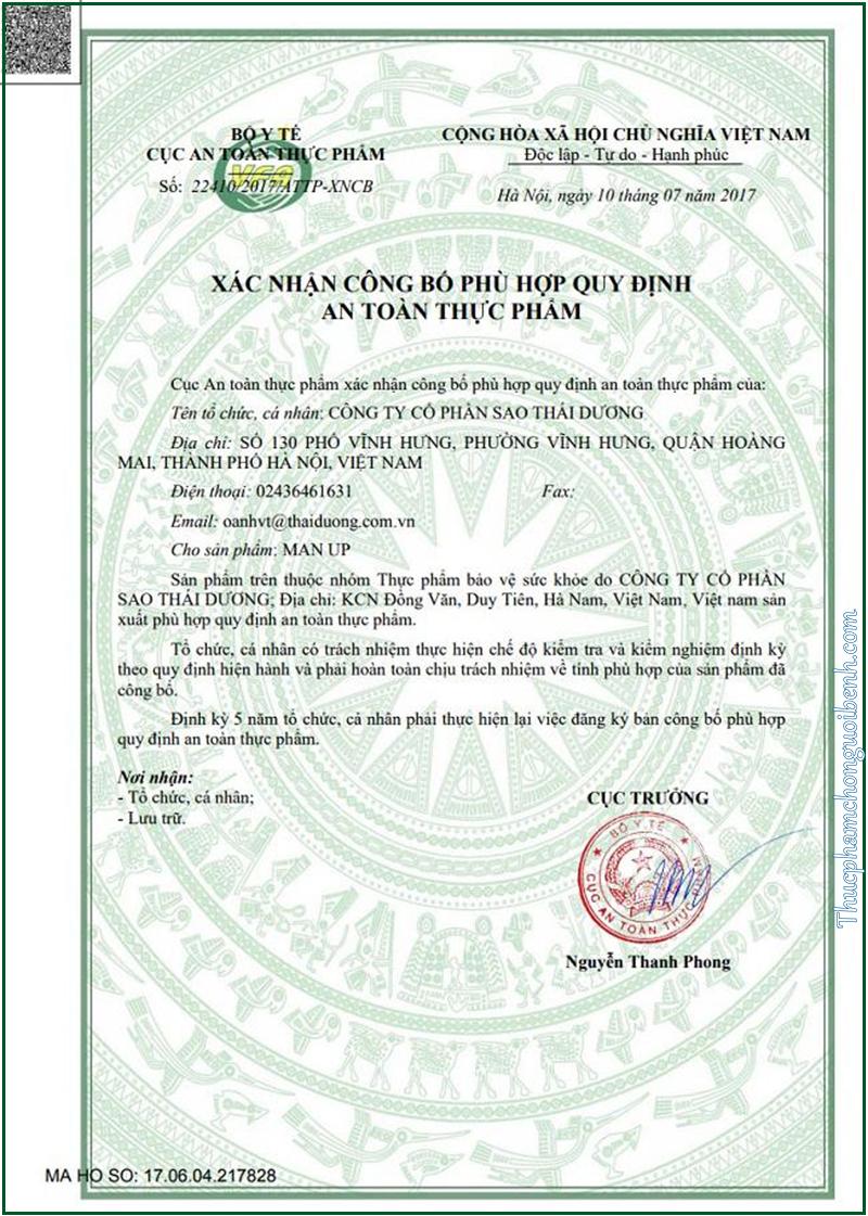 giấy chứng nhận an toàn man up