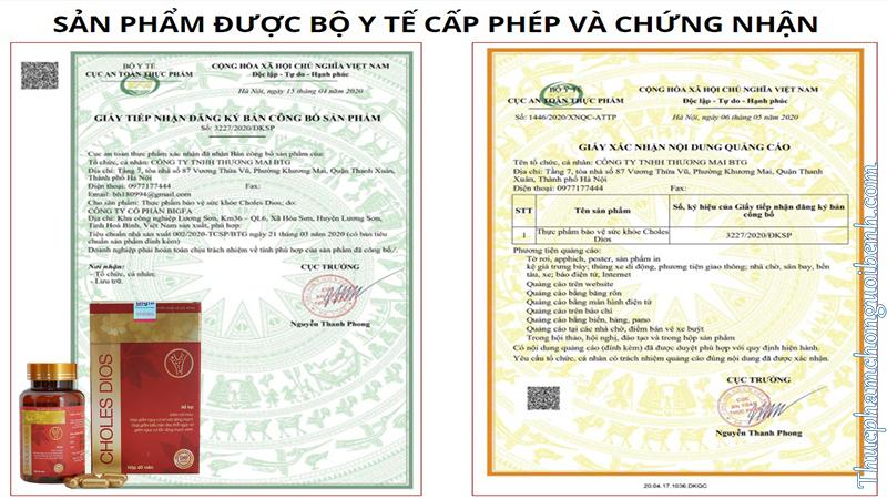 giấy chứng nhận choles dios