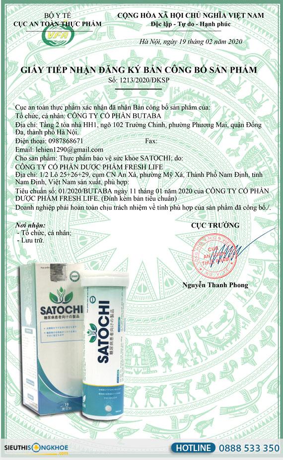 giấy chứng nhận satochi