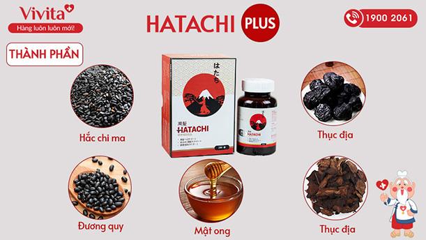 Thành phần viên uống Hatachi Plus trị bạc tóc sớm