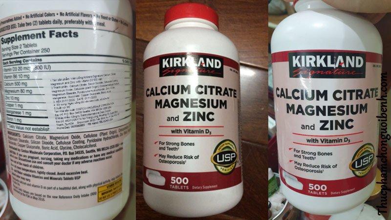 vien uong xuong khop Kirkland Calcium Citrate Magnesium And Zinc 3