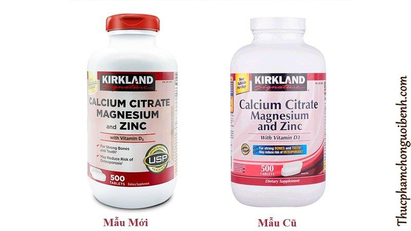 vien uong xuong khop Kirkland Calcium Citrate Magnesium And Zinc mau moi mau cu